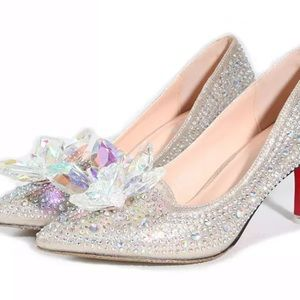 Shoes - Cinderella Crystal Shoes Pointed Toe Women Pumps